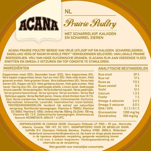 Hondenvoer   Acana Classics   Acana Prairie Poultry