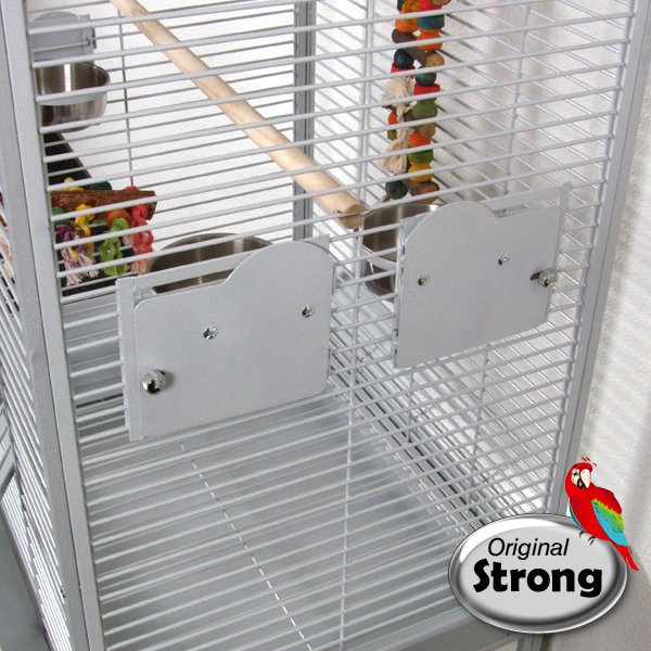 Papegaaienkooi Anna wit | voederbakdeurtjes met design sloten