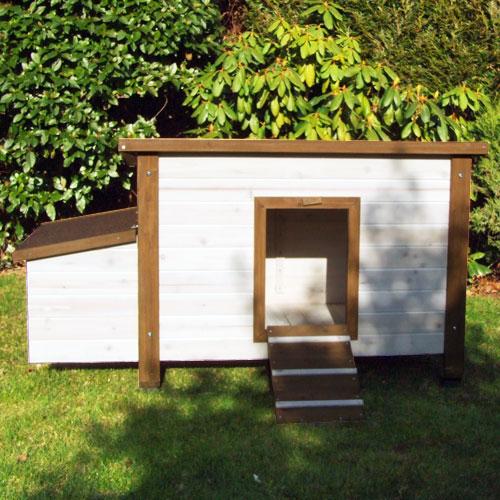Konijnenhok Animal Farm - Kleur wit/bruin met roodbitumen dakbekleding