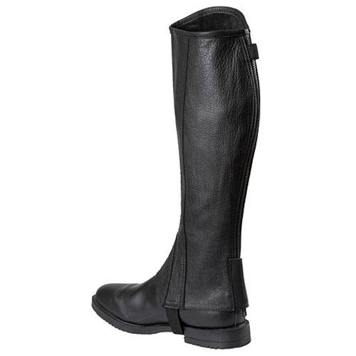 Minichaps Elasto, Leder met elastische inzet, zwart, Maat L