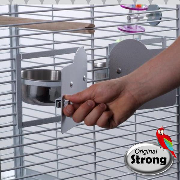 Papegaaienkooi Helios wit - voederbak van buitenaf uit te nemen