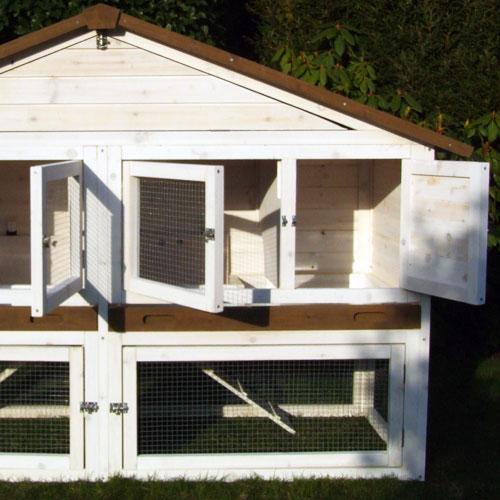 Konijnenhok Chalet XL - Solide houten tussenwand van duurzame kwaliteit