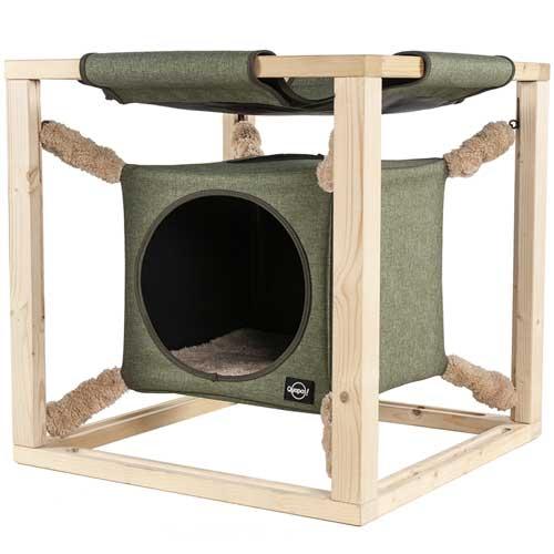 Quapas! Catcube groen L | Kattenkubus met hangmat