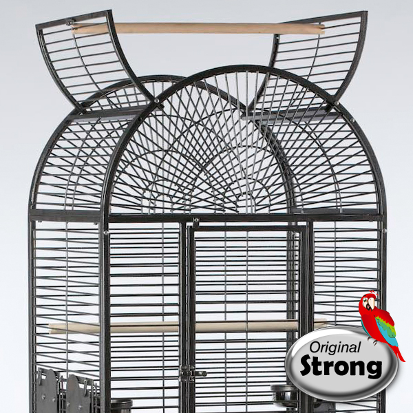 Papegaaienkooi Anna grijs bovenkant open