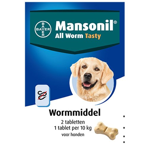 Hondenverzorging | Mansonil All Worm Tasty | 1 tablet Mansonil All Worm® Tasty per 10 kg lichaamsgewicht