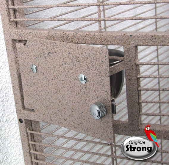 Papegaaienkooi Nadia XL zandkleur   Papegaaien kooi   voederbak deurtje