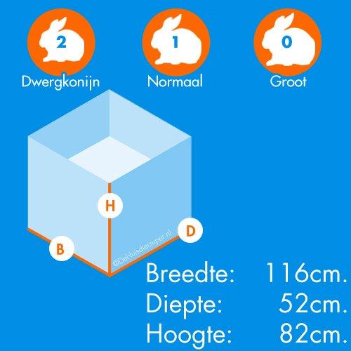 Konijnenhokken | Konijnenhok Buddy 116 x 52 x 82 cm. | Binnenhoogte: 50 cm.