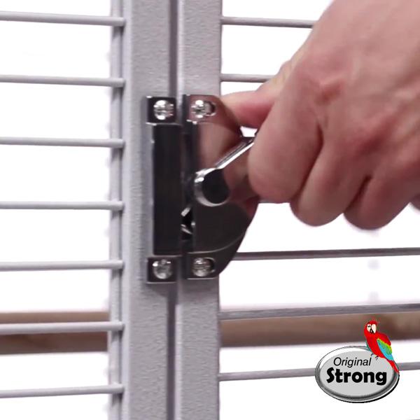 Papegaaienkooi Helios wit - beveiligd deurslot