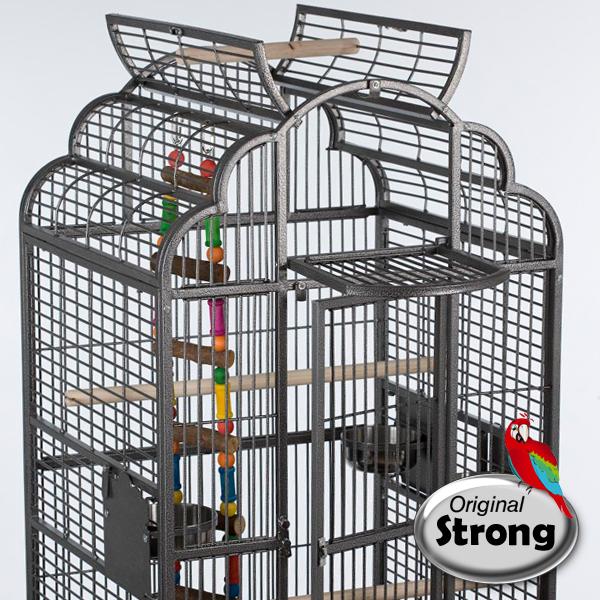 Papegaaienkooi Rhea grijs bovenkant open
