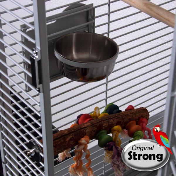 Papegaaienkooi Anna wit | voederbak beveiliging